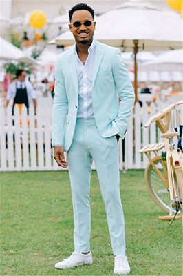 New Arrival Mint Green Two Pieces Best Slim Formal Mens Suit_1