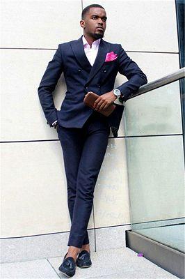Dark Blue Double Breasted Peaked Lapel Slim Fit Formal Mens Suit_1