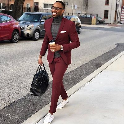 Burgundy One Button Men's Suit   Slim Fit Formal Business Suit_2