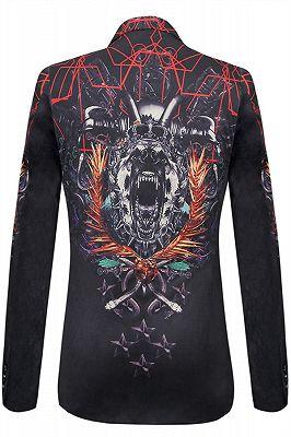 New Arrival Black Notched Lapel Slim Fit Patterned Blazer Online_2