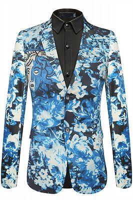 Isaac Blue Floral Slim Fit Mens Blazer Online_1