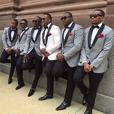 Aaron Gray One Button Best Fitted Wedding Groomsmen Suits with Black Lapel_2