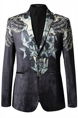 Jason Black Pleuche Star Printed Stylsih Slim Fit Blazer Jacket_1