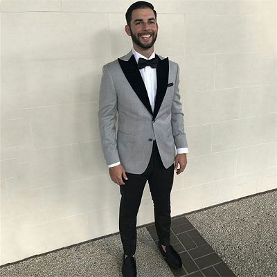Formal Grey Slim Fit Business Mens Suits with Black Peaked Lapel_2