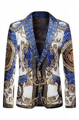 Newest Blue Peaked Lapel Casual Slim fit Blazer Jacket_1