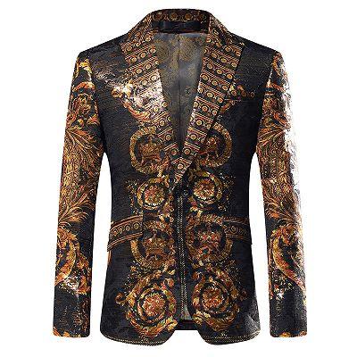 Fashion Gold Patterned Mens Slim Fit Blazers_2