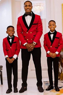 New Arrival Red Double Breasted Best Fitted Wedding Suits with Black Lapel_1