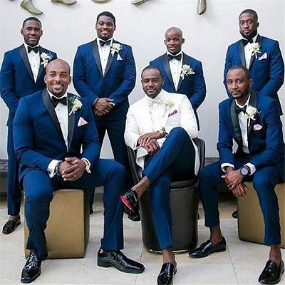 Cameron Navy Blue Slim Fit Black Shawl Groomsmen Suit_2