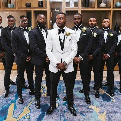 Owen Black Shawl Lapel Slim Fit Wedding Groomsuit Online_2