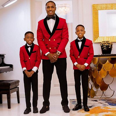 New Arrival Red Double Breasted Best Fitted Wedding Suits with Black Lapel_2