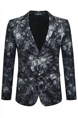 Juan Black Floral Slim Fit Casual Blazer Jacket Online_1