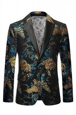 Green Floral Printed Slim Fit Mens Blazer with Black Lapel