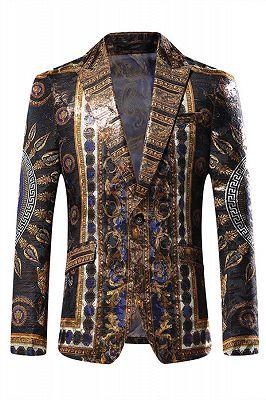 Stylish Black Peaked Lapel Jacquard Blazer for Men_1