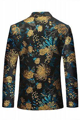 Green Floral Printed Slim Fit Mens Blazer with Black Lapel_2