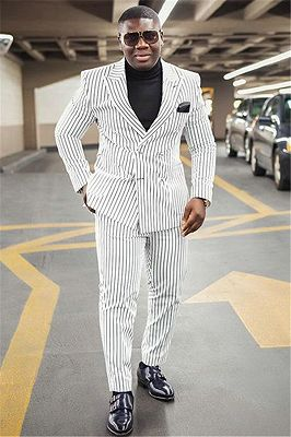 Stylish White Striped Peaked Lapel Formal Business Mens Suit_1