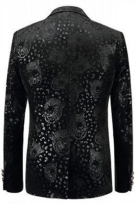 Justin Black Printed Stylish Slim Fit Blazer Jacket_2