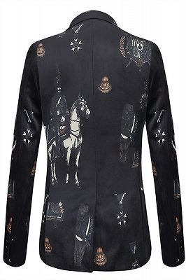 Fashion Black Knight Printed Pattern Mens Blazer_2