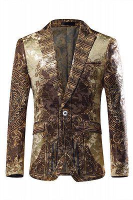 Gold Jacquard Slim Fit Peaked Lapel Mens Blazer_1