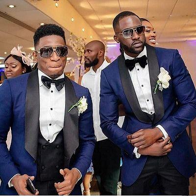 Navy Blue Three Piece Wedding Groomsmen Suit with Black Shawl Lapel_2