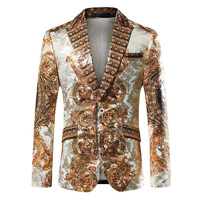 Silver Peaked Lapel Slim Fit Mens Blazer Jacket with Gold Pattern_2