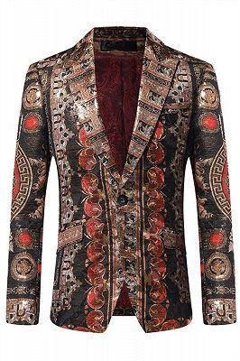 Fashion One Button Patterned Peaked Lapel Blazer Jacket_1