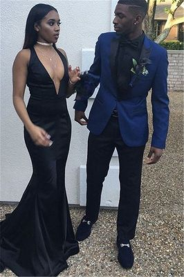 Navy Blue Slim Fit Best Prom Mens Suit with Peaked Lapel_1