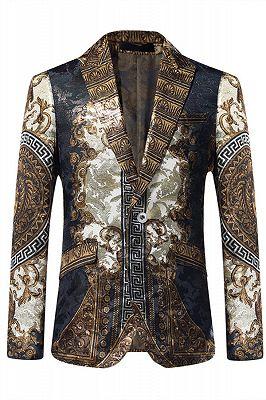 Esteban Casual Gold Patterned Slim Fit Mens Blazer Jacket Online_1