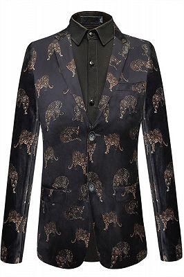 Evan Black Notched Lapel Printed Fashion Men Blazer_1