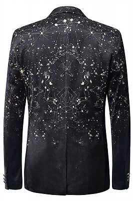 Dreaming Star Printed Black Soft Velvet Best Fitted Blazer for Men_2