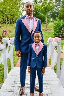 Dark Blue One Button Wedding Groom Suit with Pink Lapel_1
