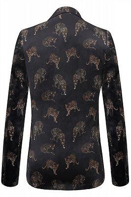 Evan Black Notched Lapel Printed Fashion Men Blazer_2