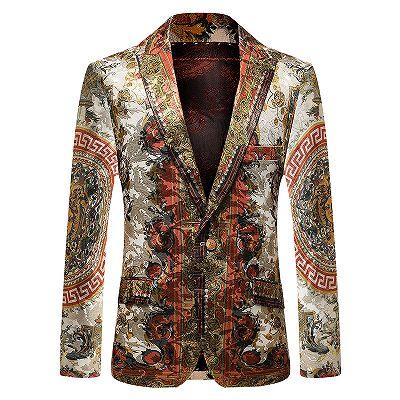 Colorful Fashion Peaked Lapel Slim Fit Mens Blazer_3