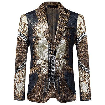 Esteban Casual Gold Patterned Slim Fit Mens Blazer Jacket Online_2