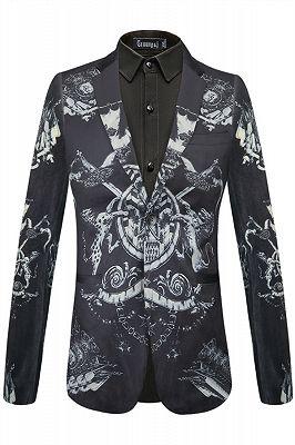 Brayan Black Animal Printed Pleuche Fitted Blazer for Boy_1