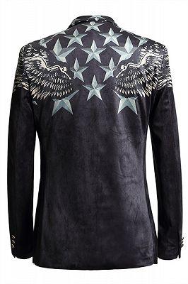 Jason Black Pleuche Star Printed Stylsih Slim Fit Blazer Jacket_2