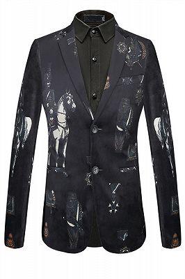 Fashion Black Knight Printed Pattern Mens Blazer_1