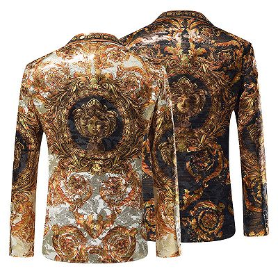 Silver Peaked Lapel Slim Fit Mens Blazer Jacket with Gold Pattern_3