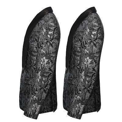 Black Jacquard One Button Shawl Lapel Blazer Jacket_3