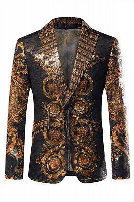 Fashion Gold Patterned Mens Slim Fit Blazers_1