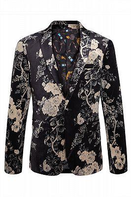 Robert Black Floral Best Fitted Blazer Jacket_1