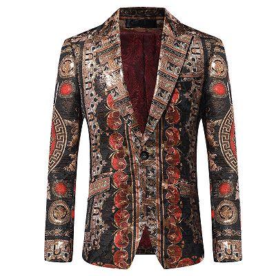 Fashion One Button Patterned Peaked Lapel Blazer Jacket_2