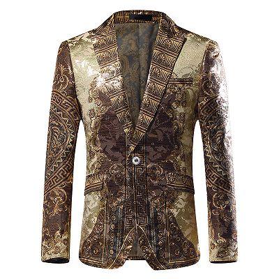 Gold Jacquard Slim Fit Peaked Lapel Mens Blazer_2