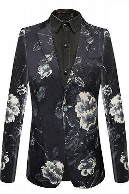 Isaiah Newest Black Floral Mens Blazer_1