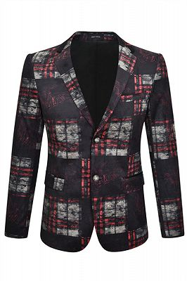 Fashion Black Plaid Velvet Notched Lapel Men Blazer_1