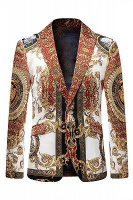Red Peaked Lapel Floral Fashion Blazer Jacket for Boy_1