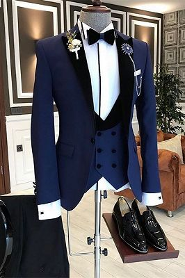 Paul Bespoke Peaked Lapel Slim Fit Dark Navy Formal Business Men Suit_1
