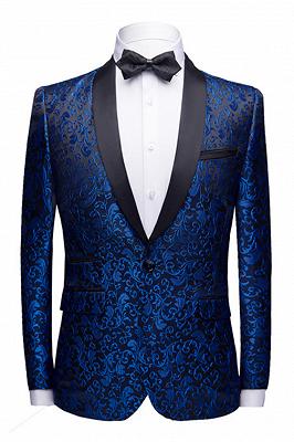 Popular Royal Blue Jacquard Prom Suits Cheap | Shawl Lapel Black Satin Wedding Tuxedos-Theo_1