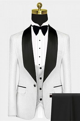 Popular Black Satin Lapel Jacquard White Wedding Suit Tuxedos - Ivan_1