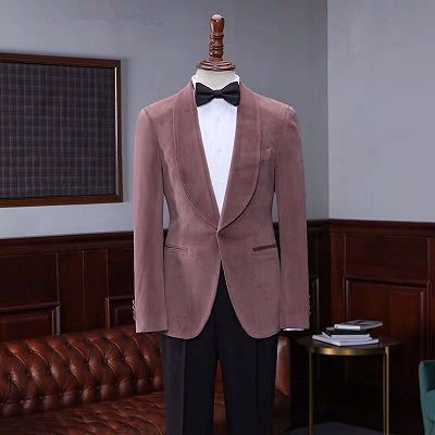 Oliver Fashion Pink Velvet Shawl Laple Men Suits for Wedding_3