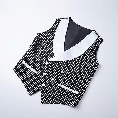 Shane Black Dot Slim Fit Shawl Lapel Wedding Tuxedo for Men_3